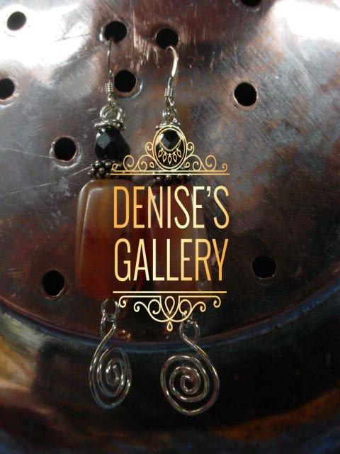 STERLING SILVER, CARNELIAN STONE & ANTIQUE, EUROPEAN FACETED GLASS EARRINGS