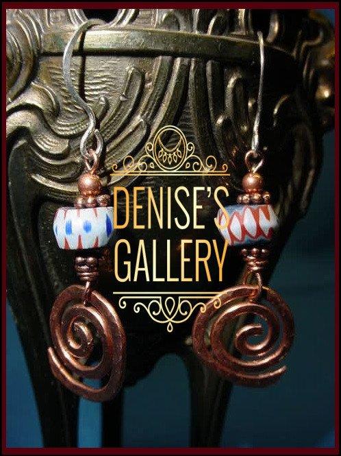 HAMMERED COPPER & ANTIQUE AWALA CHEVRON EARRINGS