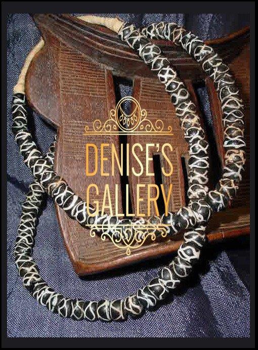 *ANTIQUE ~Black & White~ 'Rattlesnake' VENETIAN GLASS TRADE BEAD STRAND ~ ITEM # avg-008 ~