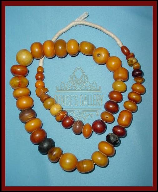 *BEAUTIFUL & RARE, ANTIQUE, AFRICAN AMBER TRADE BEAD STRAND ~ITEM # amb-001 ~