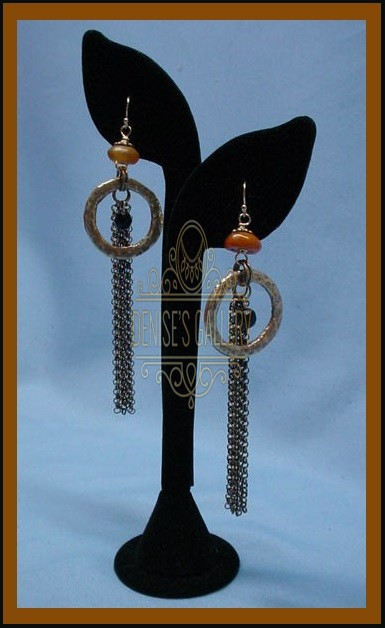 *ANTIQUE AMBER, YORUBA BRASS & BOHEMIAN GLASS EARRINGS ~ ITEM # dge-002 ~