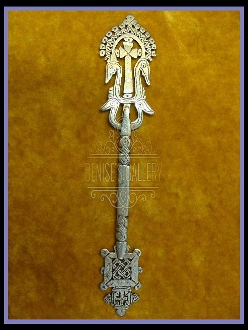 *AUTHENTIC & ORNATE, Coin Silver COPTIC HAND CROSS  ~ ITEM # dwg-501 ~
