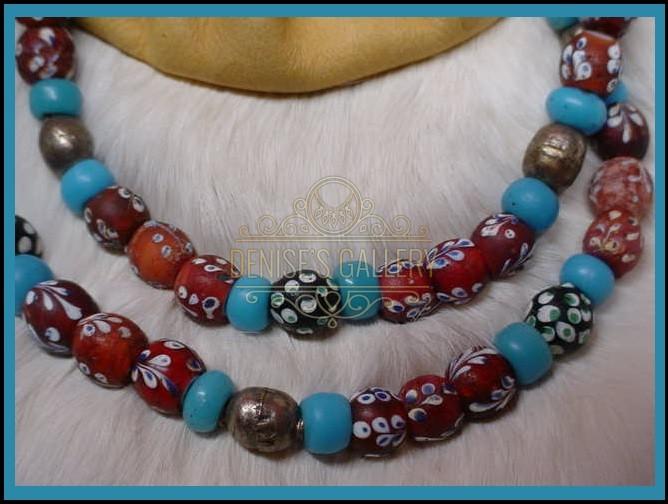 Outstanding Full Strand Of Nice Rare Original Antique Venetian Glass Trade Beads Item Avg 001 Denise S Gallery