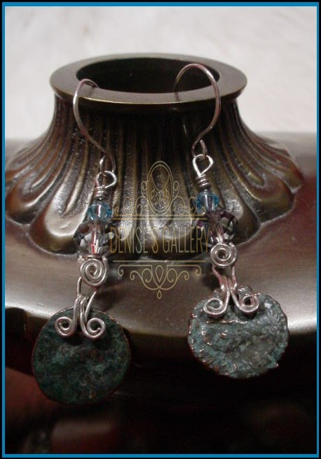 ** ANCIENT ROMAN COIN, FACETED CRYSTAL & STERLING SILVER EARRINGS ~ ITEM # dge-009 ~