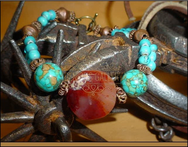 *CARNELIAN STONE, Baby Blue 'White Heart' VENETIAN GLASS BRACELET ~ ITEM # dgb-001 ~