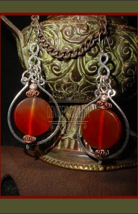 *GORGEOUS!  GENUINE CARNELIAN STONE & STERLING SILVER 'HOOP' EARRINGS ~ ITEM # dge-001 ~
