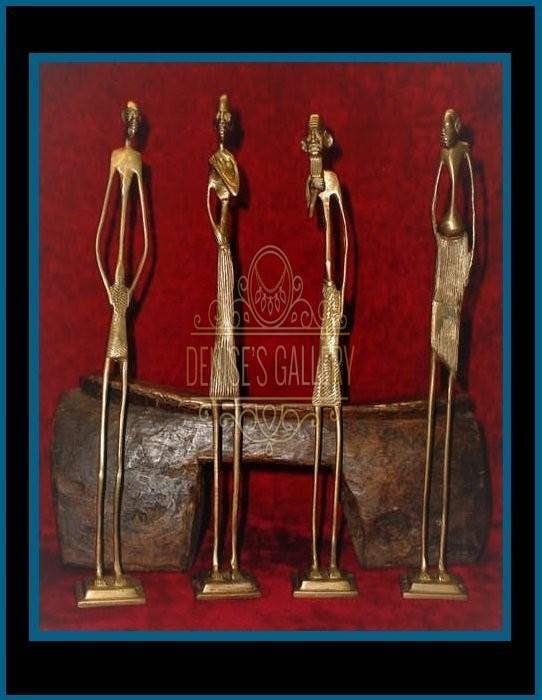 VINTAGE BRASS AFRICAN TRIBAL ART STATUE FIGURINES –  SET OF FOUR (4) ~ ITEM # afr-001 ~