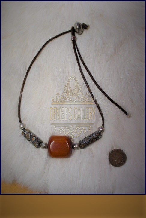 ANTIQUE MILLEFIORI & CHUNKY AFRICAN AMBER LEATHER SPIRIT CHOKER NECKLACE ~ ITEM # dgn-022 ~