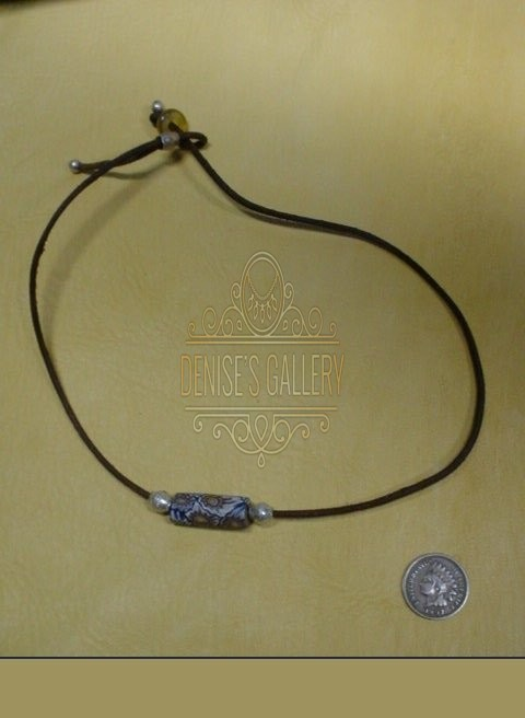 ANTIQUE MILLEFIORI & GENUINE LEATHER 'SPIRIT' CHOKER NECKLACE ~ ITEM # dgn-029 ~